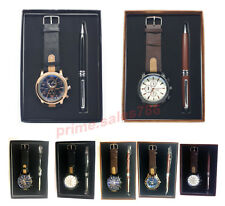 Gift Watch Set with  Pen & Leather Exclusive Men's Watch Free & Fast UK Post
