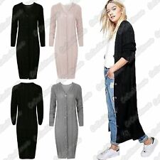 New Ladies Cable Knitted 6 Button V Neck Long Sleeve Warm Grandad Maxi Cardigan