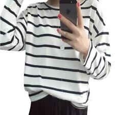 Long-sleeved Sweatshirts Striped Pullovers Shirts Casual Loose Blouse For Ladies