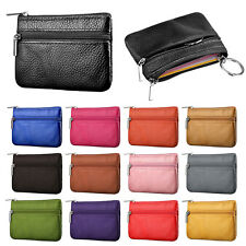 Women Men Leather Coin Purse Wallet Clutch Zipper Small Change Soft Bag Mini Bag