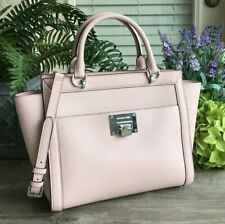 NWT Michael Kors TINA Large Leather Top Zip Satchel Crossbody Bag In Blossom