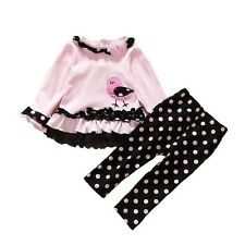 Baby Girl Toddler Party Birthday Casual Polka Dot Autumn Kids winter Outfit Set
