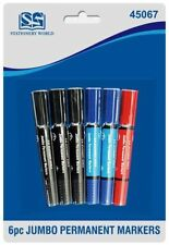 Jumbo Permanent Markers Double Ended Black,Blue,Red Chisel & Bullet Tip Markers