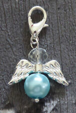 Crystal Guardian Angel Charm  Christening  Baby Boy  Something Blue Gift  Lucky