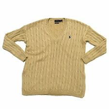 Polo Ralph Lauren Womens Pima Cotton Cable Knit V-Neck Sweater