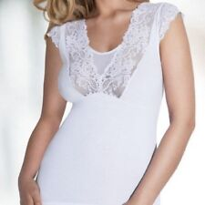 White Womens Top Blouse T-shirt Talia Lace Cap Sleeves
