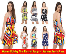 Womens Sexy Strapless Jumpsuit Mini Playsuit Ladies Tops Summer Beach Dresses
