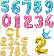 32 /40 INCH GIANT FOIL NUMBER BALLOON in GOLD /PINK /BLUE and CROWN BALLOONS