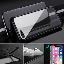 Magnetic Metal Frame Tempered Glass Back Cover Case Skin For iPhone X 7 8 + Plus