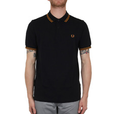 X Fred Perry Twin Tipped Polo Shirt - Navy / Burnt Amber (Fred Perry Limited)