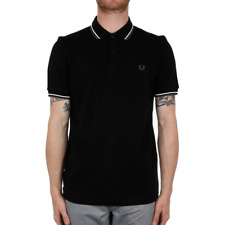 Fred Perry Twin Tipped Polo Shirt - Black / White / Iced Slate
