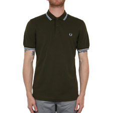 Fred Perry Twin Tipped Polo Shirt - Dark Fern / Snow White / Sky Blue