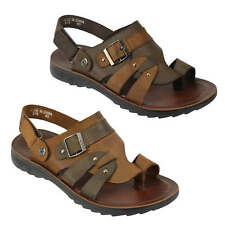 Mens Real Leather Sandals Coffee Brown Slip on Summer Beach Strapped Slippers