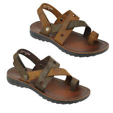 Mens Brown Real Leather Sandals Cross Strap Open Summer Holiday Slip on Slippers
