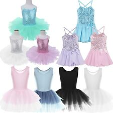 Girls Kids Ballet Dance Leotard Dress Skating Tutu Skirt Gymnastics Dance Wear