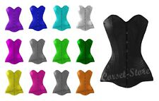 Over Bust Long Hip Line Steel Boned Tight Lacing Authentic Satin Corset P99S