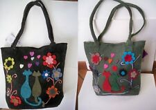 BORSA SHOPPER SECCHIELLO LANA COTTA GATTI CATS ETNICO NEPAL BAG