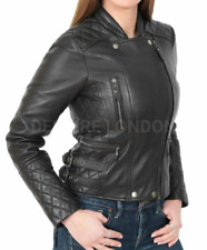 Women's Very Hot Brando Style Quilted Genuine Sheep/Cowhide Leather Biker Jacket