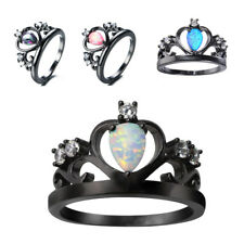Princess Crown Heart Black Gold White Fire Opal Cubic Zirconia Ring Rainbow SiZ1