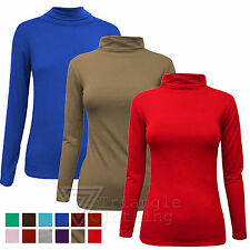 Ladies Womens Plain Polo Neck Jumper Stretch Top High Neck Long Sleeve Autumn