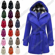 New Ladies Hooded Belted Fleece Jacket Button Long Sleeve Winter Warm Coat Top