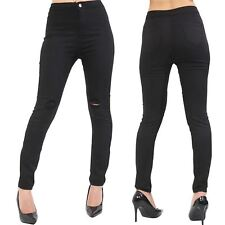 New Ladies Womens Denim Jeans Skinny Fitted Knee Ripped Stretchy Pants Trouser