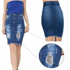 Womens Ladies Denim Distressed Destroyed Ripped Faded Raw Edge Jeans Mini Skirt