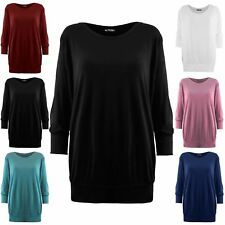 Womens Ladies Plain Baggy Oversized 3/4 Cuffed Sleeve Stretchy T Shirt Tee Top