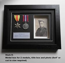 Medal Frame - 2 Medal Display/photo aperture/title box - REAL WOOD FRAMES