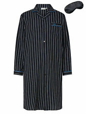 i-Smalls Mens Striped Nightshirt Long Sleeves Cotton with Black Eye Mask