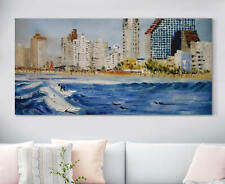 Modern Abstract City Seascape Hand Painted Oil Painting Home Decor Art On Canvas