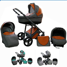 Baby Pram Stroller Complete Travel System Pushchair 3in1 Car Seat Carrycot Buggy
