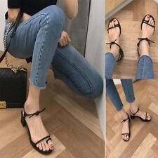 Women Summer Clip Toe Holiday Comfy Shoes Strappy Lace Up Block Low Heel Sandals