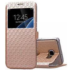 Luxury Window View Flip Card Slot Phone Case Stand Cover For Samsung Galaxy