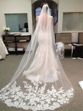 3M White Ivory 1T Cathedral Applique Edge Lace Bridal Wedding Veil With Comb UK