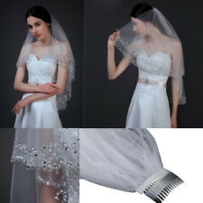 2T White Ivory Sequins Beaded Edge Wedding Bridal Elbow Veil with Comb UK Seller
