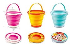 NEW 7L COLLAPSIBLE FOLDING SILICON PLASTIC KITCHEN CAMPING GARDEN WATER BUCKET