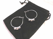 Sparkling & Unusual Austrian 3 Crystal 18k White Gold Plated Large Hoop Earrings