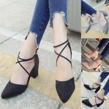 Sexy Ladies Point Toe Ankle Tie Wrap Buckle Block Mid Heel Sandals Casual Shoes