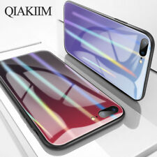 Luxury Glossy Gradient Rainbow Color Tempered Glass Phone Case Cover For iPhone