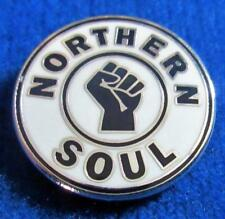 NORTHERN SOUL BADGE - NORTHERN SOUL - SILVER PLATE - BLACK OR WHITE