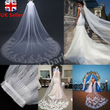 3M White / Ivory 1T Cathedral Applique Edge Lace Bridal Wedding Veil With Comb