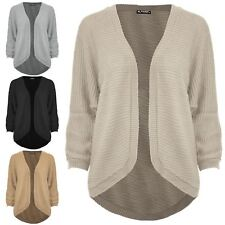 Womens Open Front Cape Cardigan Knitted Batwing Ribbed Poncho Ladies Sweater Top