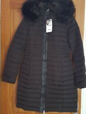 ZARA BLACK Long Quilted  Down Puffer Jacket/ Coat Anorak With Hood SIZE  XS&S&M