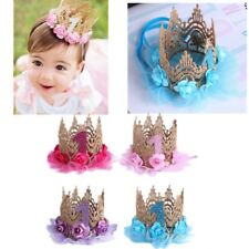 One Birthday Crown Hat Flower Tiara Headband for Baby Girls Party Photo Props