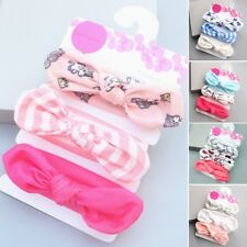 3pcs Newborn Headband Cotton Elastic Baby Print Floral Hair Band Bow-knot H45