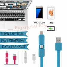 2in1 Dual Connector 1m Fast Charging USB Data Cable for Android & iPhone iPad