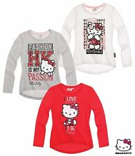 NEUF pull pullover MAILLOT MANCHES LONGUES HELLO KITTY GRIS ROUGE BLANC 98 104