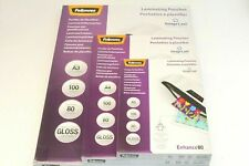 A4 OR A3 FELLOWES '160 MICRON (2 X 80)' CLEAR GLOSS LAMINATING POUCHES & SLEEVES