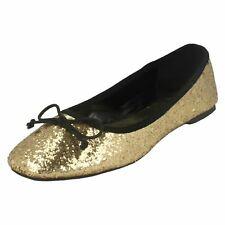 Spot on F8894 Ladies Gold Flat shoes pumps with Bow detail  (32B) (Kett)